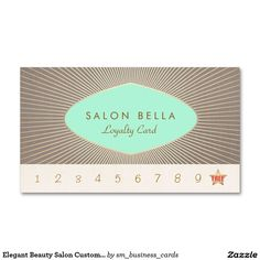 Elegant Beauty Salon Customer Loyalty Punch Card Business Card - lovely design great for manicurists, fashion boutiques, beauty salons, massage therapists and more.