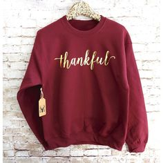 Thankful Sweatshirt Thankful Shirt Thankful Jumper Thanksgiving... (€20) ❤ liked on Polyvore featuring tops, hoodies, sweatshirts, grey, women's clothing, gray shirt, grey shirt, christmas sweatshirt, ruched top en letter shirts