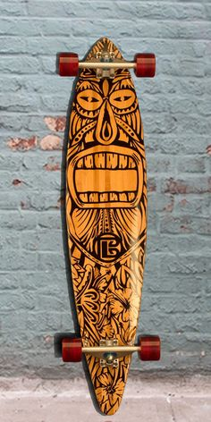 Great Tiki Man on this bamboo pintail longboard. Eco-friendly Bamboo longboard with the right amount of flex. Great pintail from bamboo skateboards. Bamboo Longboard, Longboard Decks, Skateboard Deck Art, Skateboard Design, Skates, Deco Surf, Pintail Longboard, Tiki Man, Longboard Design