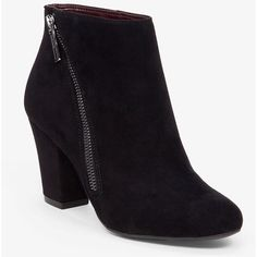 BCBGeneration Dorien Zip Detail Ankle Boot (1,760 MXN) ❤ liked on Polyvore featuring shoes, boots, ankle booties, heels, black, black ankle boots, short heel boots, block heel booties, black ankle booties and black heeled booties