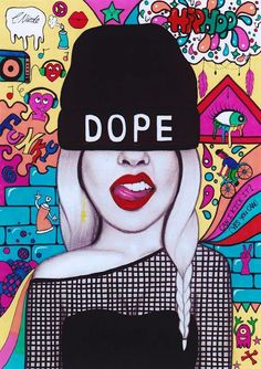 D O P E #graffitiart #drawing #colourfulart #beanie #beaniegirl #hiphop #art