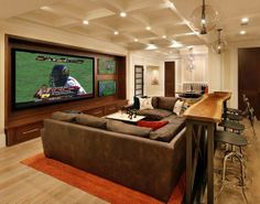 Attractive Media Room Home Theater Furniture Seating With Bar Table Behind Couch - Home Interior Design Ideas Home Theaters, Behind Couch, Man Cave Basement, Basement Game Rooms, Rec Rooms, Cozy Basement, Rustic Basement, Walkout Basement, Bonus Rooms