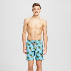 Men's Pineapple Print Swim Trunks - Trintiy Collective Teal Xxl, Green