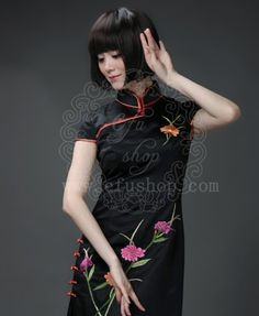 Black silk brocade with embroidery qipao - Custom-made Cheongsam,Chinese clothes, Qipao, Chinese Dresses, chinese clothing,EFU Tailor Shop