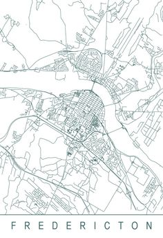 FREDERICTON MAP High Quality Giclee Print by EncoreDesignStudios