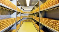 Gold bars on shelves in a vault at the Bundesbank, Germany's central bank in Frankfurt. DPA
