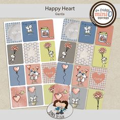 SoMa Design: Happy Heart - MiniO - Cards Happy Heart, Color Mixing, Digital Scrapbooking, Design, Cards, Kit, Style, Colors