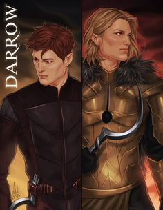 Red and Gold Darrow from Red Rising, at the beginning and at the end of the first book. I can't wait to read the second book.