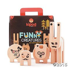 Create Your Own Funny Creatures - Imaginations run wild with this fun-tastic assembly toy! Kids can assemble endless variations of funny creatures, stimulating creativity and improving fine motor skills. Set includes 15 wooden pieces plus a sticker sheet full of goofy eyes, noses and other features. #MindWareToys
