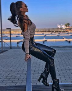 Image may contain: one or more people, people standing, shoes and outdoor Sexy Outfits, Cute Outfits, Fashion Outfits, Leather Leggings Outfit, Leder Boots, Vinyl Leggings, Botas Sexy, Leder Outfits, Sexy Latex