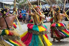 Traditional Women's bamboo dance at Yap Day, Micronesia - http://www.mantaray.com