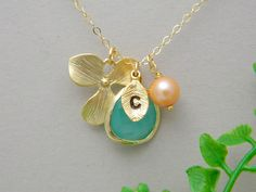 Initial Necklace, Mothers day Gift, Peach Pearl, Aqua , Initial Jewelry, Bridesmaid Gifts, Monogram Necklace, Mothers Necklace