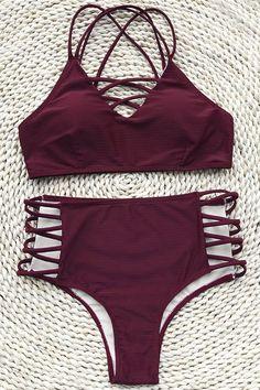Women Likes: Cupshe Dolce Vita Solid Bikini Set Bikini Babes, Bikini Sets, Bikini Modells, Bikini Ready, Summer Bathing Suits, Cute Bathing Suits, Tankini, Cute Swimsuits, Cute Bikinis
