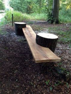 build your own garden bench using tree stumps and a long piece of wood. (Stumps at the end instead of side, that also double as end tables?