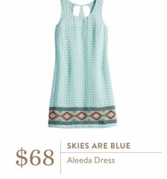 Stitch Fix June 2016 - Skies are Blue, Aleeda dress, $68. A line above the knee summer dress.