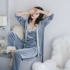 Buy Voplidia Autumn three-piece Set Sexy Bathrobe Women 2017 Pajamas Set New Nightgown Set Sleepwear Pajamas Pijama Feminino Pyjama Satin Pyjama Set, Satin Pajamas, Women's Pajamas, Flannel Pajamas, Sleepwear Women, Loungewear, Sexy Pyjamas, Pijamas Women, Pajama Suit