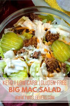 If you're keto and are missing Big Macs, have I got the perfect Big Mac Salad and Big Mac Sauce recipe for you! Super easy and let me tell you–it tastes EXACTLY like a Big Mac. Except, of course, this low carb hamburger salad is actually good for you. Low Carb Fast Food, Low Carb Keto, Low Carb Recipes, Beef Recipes, Cooking Recipes, Healthy Recipes, Low Carb Meals, Low Carb Hamburger Recipes, Recipies