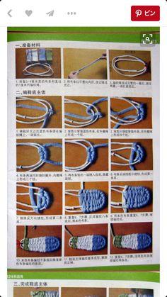 Slipper T-Shirt Yarn - Tutorial for Crochet, Knitting, Crafts. Crochet Shoes, Crochet Slippers, Crochet Sandals, Crochet Projects, Sewing Projects, Tshirt Garn, Diy Clothes, Diy Fashion, Sewing Crafts