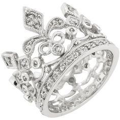 Crown Engagement Ring Eternity Ring Wedding Ring CZ Eternity Band... ($30) ❤ liked on Polyvore featuring jewelry, rings, silver, accessories, sterling silver cz rings, simulated diamond engagement rings, eternity ring, crown rings and wedding rings