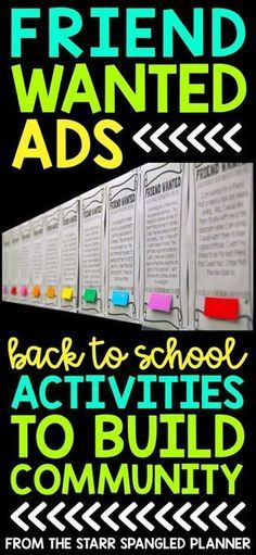 Favorite Back To School Activity: Friend Wanted Ads My favorite Back To School Activity! It's the perfect whole class activity to help build community in your classroom at the beginning of the school year. Students share what they are looking for in a new First Day Of School Activities, 1st Day Of School, Beginning Of The School Year, Class Activities, High School, Summer Activities, Back To School Ideas For Teachers, Back To School Art, School Starts