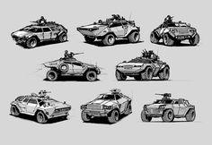 Light armored vehicles sketches by ~alex-ichim on deviantART