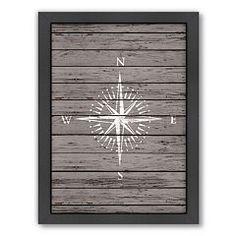 Americanflat Wood Quad Compass Framed Wall Art