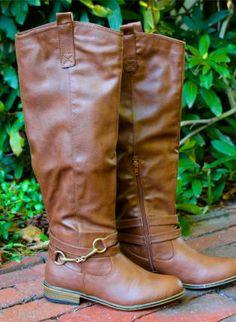 Chestnut Brown Knee High Riding Boots #fallfashion