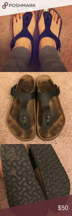 Birkenstock Gizeh Sandals Size 6 Well worn but in good condition.  AS IS.  No damage or rips.  I'm about a size 6.5-7 and these fit perfect. Birkenstock Shoes Sandals