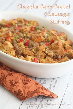 Healthy Gluten-Free Cheddar Beer Bread & Sausage Stuffing - a great addition to any holiday table. #lowcarb