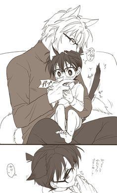 Idk what this is from but it's cute as hell Boboiboy Anime, Anime Demon, Anime Guys, Conan Comics, Detektif Conan, Yaoi Hard Manga, Detective Conan Ran, Detective Conan Wallpapers, Kaito Kid