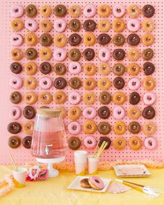This donut board will steal the show at your next party. Easy DIY on ohhappyday.com today! Happy # Day!
