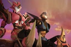 Arcee and Elita. Elita may look better.. But arcee is forever better ( my opinion )