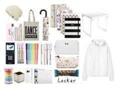 """Locker Essentials: Pastel Edition"" by uniquedifference ❤ liked on Polyvore featuring interior, interiors, interior design, home, home decor, interior decorating, Go Stationery, Caroline Gardner, ALPHABET BAGS and Kate Spade"