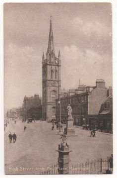 HIGH STREET FROM PEEL PLACE, MONTROSE, ANGUS - Vintage Postcard (1923)