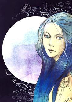 ryneziondraws:  Request from anon - Karou in Blue The book is amazing btw. Read it! (Laini Taylor Daughter of Smoke and Bone)