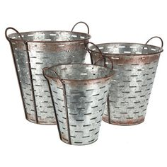 I would like the biggest size. They sell these individually in the store, so it is cheaper  Galvanized Metal Olive Bucket Set with Handles