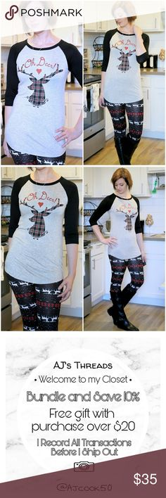 Oh Deer Holiday Black Tee 'Oh Deer' holiday graphic reindeer baseball tee with a heather gray base and black sleeves.  95% Rayon 5% Spandex  Made in USA  AC1FTOBK111717 Tops