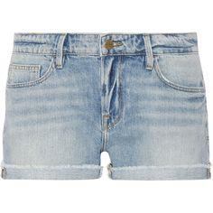 Frame Grand Garcon denim shorts (2 495 ZAR) ❤ liked on Polyvore featuring shorts, light denim, short jean shorts, slim jean shorts, low rise denim shorts, summer jean shorts and light blue jean shorts