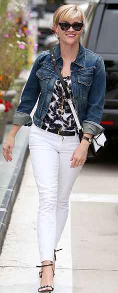 Denim Jacket, black & white top, white jeans