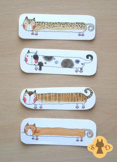 Catmark - cute bookmark with a orange red cat - two-sided, handpainted, watercolor. $10.00, via Etsy.