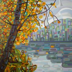 love these - Contemporary abstract landscape painting art by Mandy Budan - Reflections