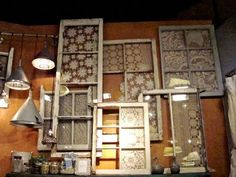 Here are some interesting decor ideas for you're home, you can start decorating you're house with old doors and windows, there are plenty of ideas that are possible to give life to you're old stuff. Old Window Frames, Window Art, Window Panes, Display Window, Lace Window, Window Ideas, Old Windows, Windows And Doors, Windows Decor