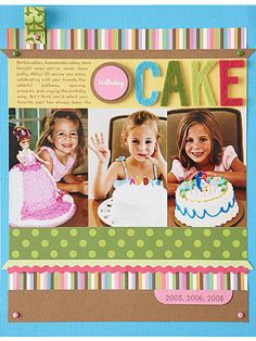 Girl Birthday Scrapbook Pages: Birthdays Past Page