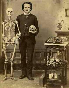 Victorian Edgar Allan Poe With Skeleton Art Print 8 x 10 - Altered Art Cabinet Card Style Edgar Allan Poe, Quoth The Raven, Allen Poe, Skeleton Art, Writers And Poets, Vintage Halloween, Altered Art, Baltimore, Creepy