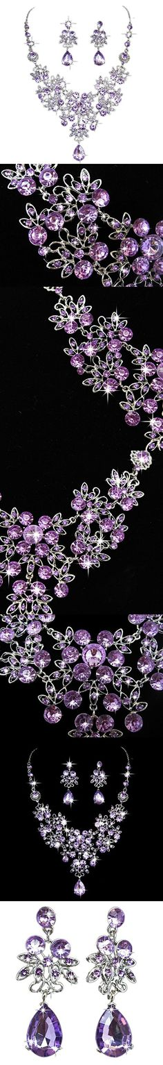 Bridal Bridesmaids Crystal Rhinestone Necklace and Earring Set Jewelry Eardrop Gifts Fit With Wedding Dress by Staron (Purple)