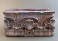 French Art Nouveau Glazed Terra Cotta Planter Box Circa 1900