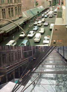 Looking north west up Pitt Street/Pitt Street Mall from the pedestrian bridge 1987 > 2016. [Sydney City Archives > Phil Harvey. By Phil Harvey]
