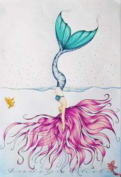 Art Drawing Diving Mermaid Drawing by IndigoBox on Etsy