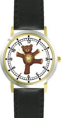 Teddy Bear (Happy Face) Dancing - Bear - JP Animal - WATCHBUDDY® DELUXE TWO-TONE THEME WATCH - Arabic Numbers - Black Leather Strap-Size-Children's Size-Small ( Boy's Size & Girl's Size ) WatchBuddy. $49.95. Save 38%!