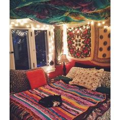 get discounted tapestries at www mysoulmonkey com to create the boho living space of your dreams bohohomedecor cozy bed # Hippie Bedroom Decor, Hippy Bedroom, Boho Room, Room Decor Bedroom, Bedroom Ideas, Gypsy Room, Hippie Bedding, Awesome Bedrooms, Cool Rooms